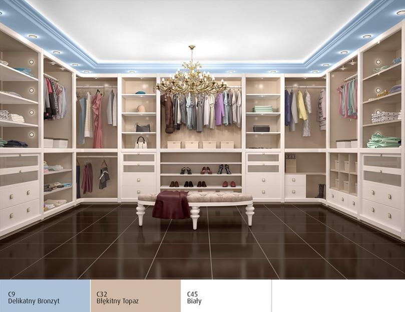 Garderoba styl glamour, Magnat Ceramic Delikatny Bronzyt, Błękitny Topaz i Biały