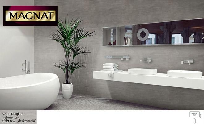 Łazienka Beton Magnat Style na ścianie zamiast płytel