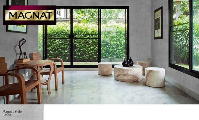 Beton i drewno w salonie Magnat Style