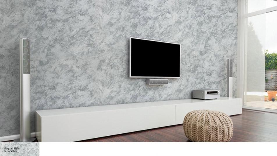 Perla Sabbia na ścianie za telewizorem